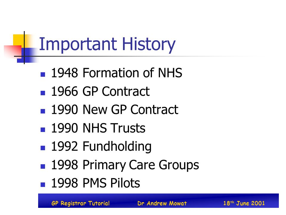 GP Registrar TutorialDr Andrew Mowat18 th June 2001 Important History 1948 Formation of NHS 1966 GP Contract 1990 New GP Contract 1990 NHS Trusts 1992 Fundholding 1998 Primary Care Groups 1998 PMS Pilots
