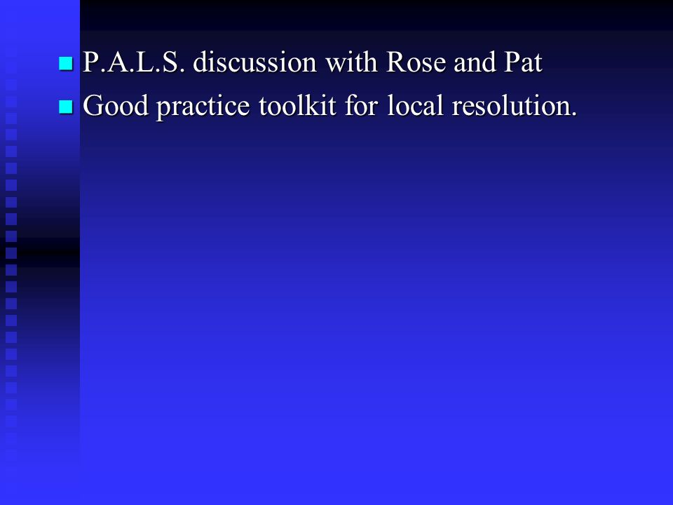 P.A.L.S. discussion with Rose and Pat P.A.L.S.
