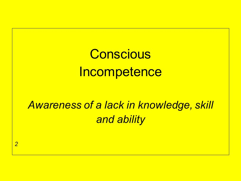 Conscious Incompetence Awareness of a lack in knowledge, skill and ability 2