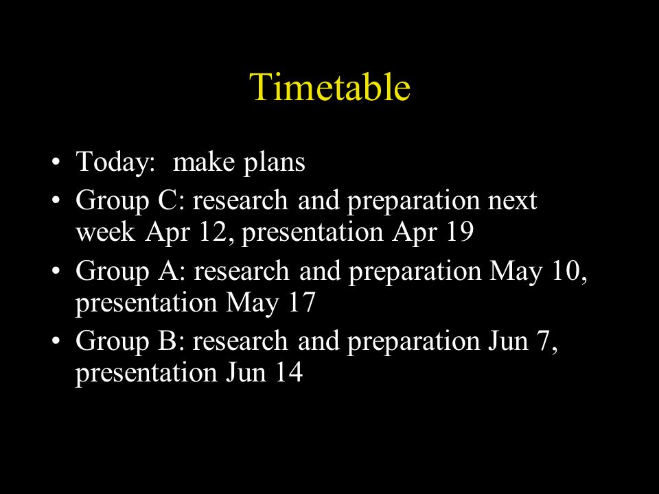 Timetable Today: make plans Group C: research and preparation next week Apr 12, presentation Apr 19 Group A: research and preparation May 10, presentation May 17 Group B: research and preparation Jun 7, presentation Jun 14