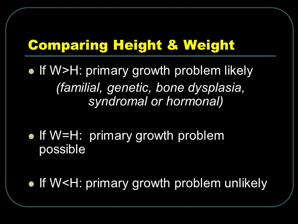 Comparing Height & Weight If W>H: primary growth problem likely (familial, genetic, bone dysplasia, syndromal or hormonal) If W=H: primary growth problem possible If W<H: primary growth problem unlikely