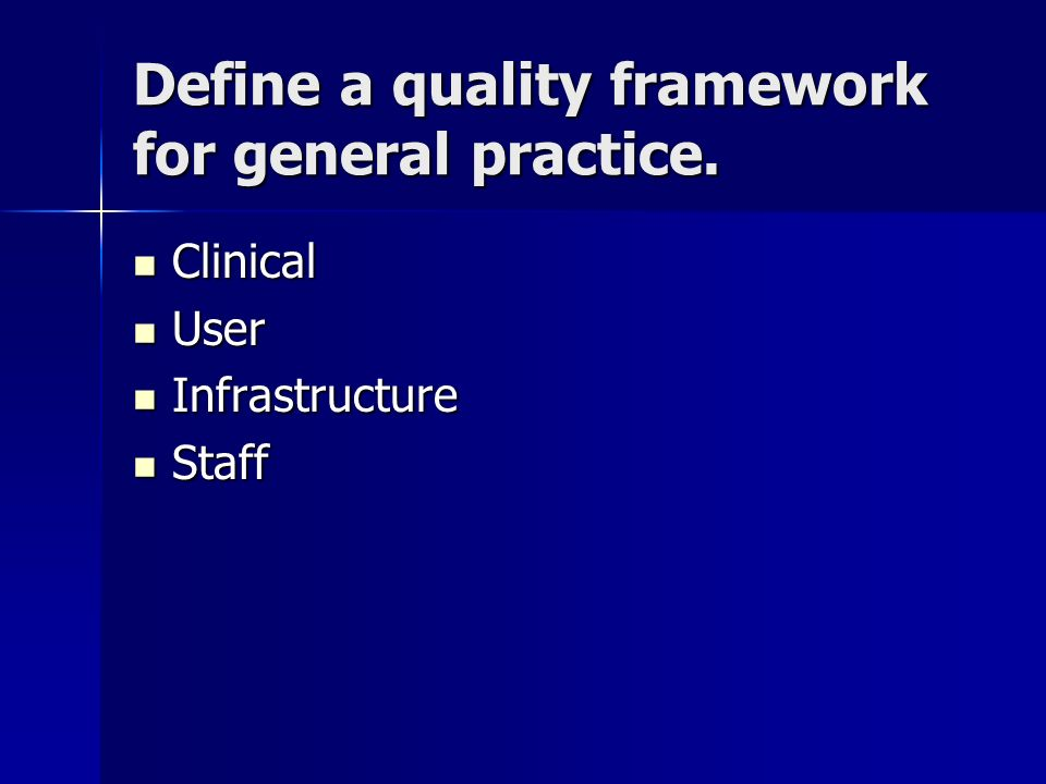 Define a quality framework for general practice.