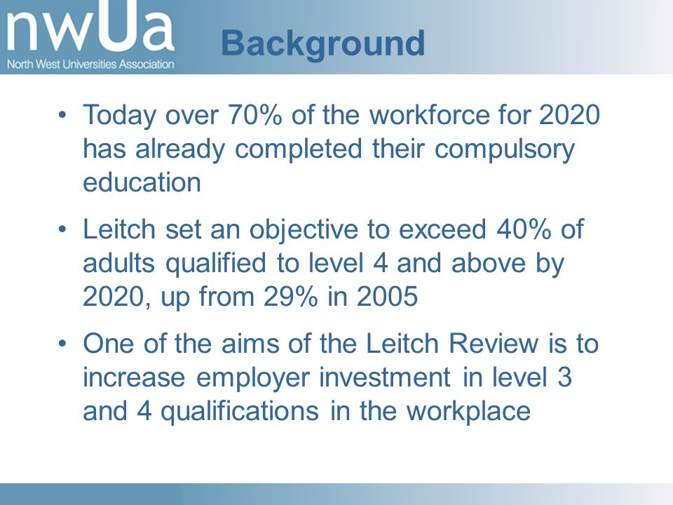 Background Today over 70% of the workforce for 2020 has already completed their compulsory education Leitch set an objective to exceed 40% of adults qualified to level 4 and above by 2020, up from 29% in 2005 One of the aims of the Leitch Review is to increase employer investment in level 3 and 4 qualifications in the workplace