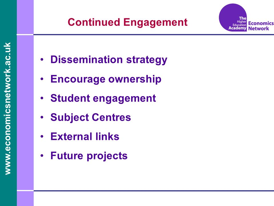 www.economicsnetwork.ac.uk www.economics.ltsn.ac.uk Continued Engagement Dissemination strategy Encourage ownership Student engagement Subject Centres External links Future projects