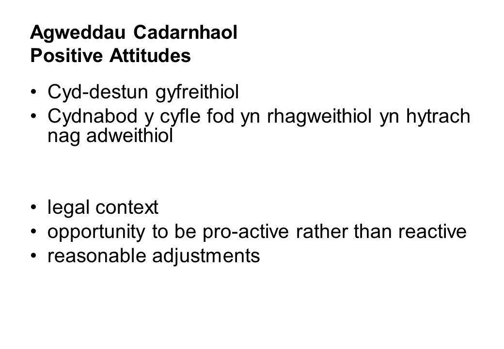 Agweddau Cadarnhaol Positive Attitudes Cyd-destun gyfreithiol Cydnabod y cyfle fod yn rhagweithiol yn hytrach nag adweithiol legal context opportunity to be pro-active rather than reactive reasonable adjustments