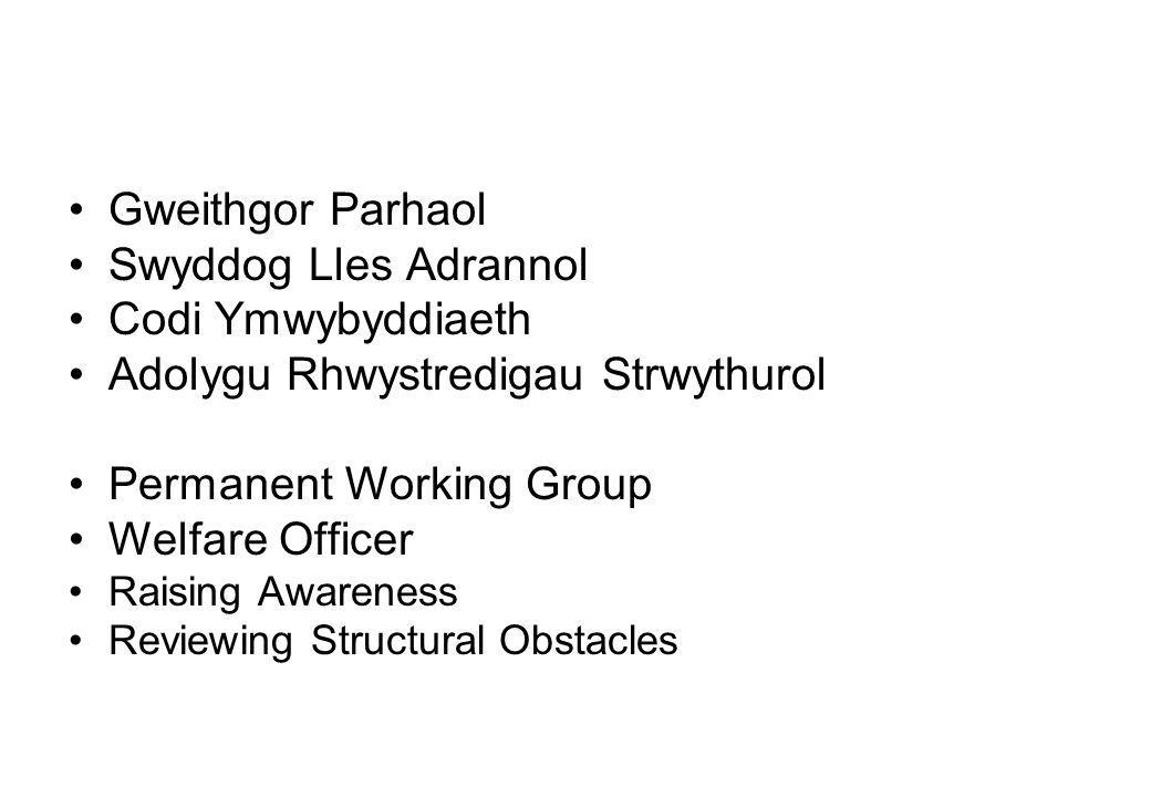 Gweithgor Parhaol Swyddog Lles Adrannol Codi Ymwybyddiaeth Adolygu Rhwystredigau Strwythurol Permanent Working Group Welfare Officer Raising Awareness Reviewing Structural Obstacles