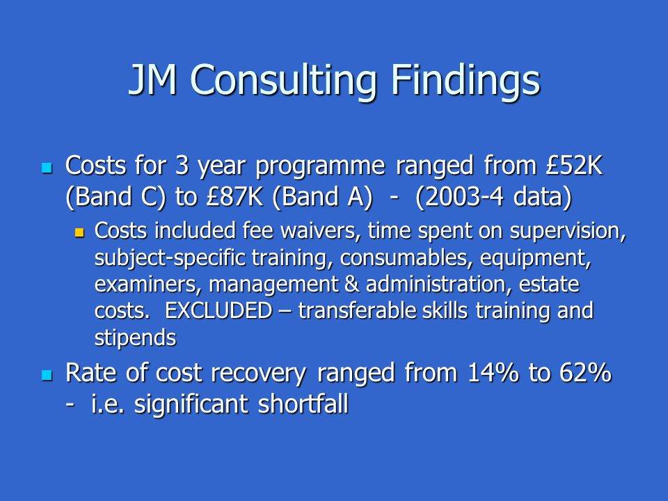 JM Consulting Findings Costs for 3 year programme ranged from £52K (Band C) to £87K (Band A) - (2003-4 data) Costs for 3 year programme ranged from £52K (Band C) to £87K (Band A) - (2003-4 data) Costs included fee waivers, time spent on supervision, subject-specific training, consumables, equipment, examiners, management & administration, estate costs.