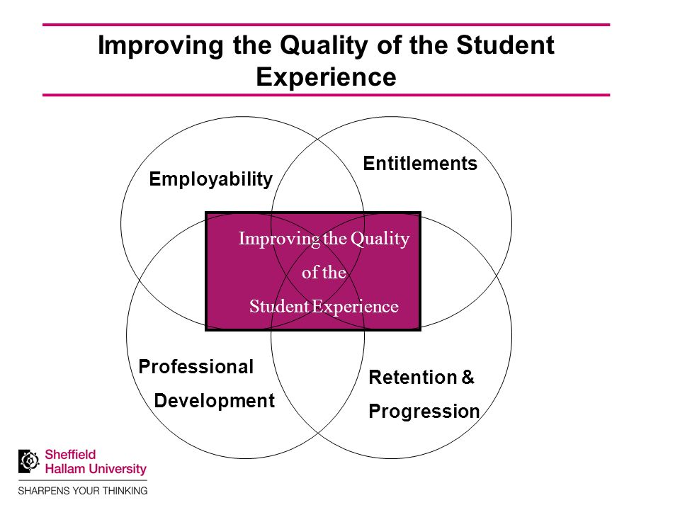 knowledge education and skills which make a difference Employability Retention & Progression Entitlements Improving the Quality of the Student Experience Professional Development Improving the Quality of the Student Experience