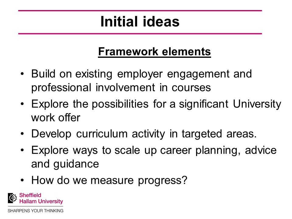 Initial ideas Framework elements Build on existing employer engagement and professional involvement in courses Explore the possibilities for a significant University work offer Develop curriculum activity in targeted areas.