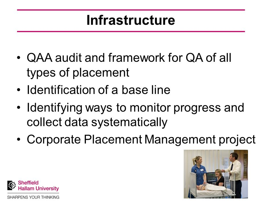 Infrastructure QAA audit and framework for QA of all types of placement Identification of a base line Identifying ways to monitor progress and collect data systematically Corporate Placement Management project
