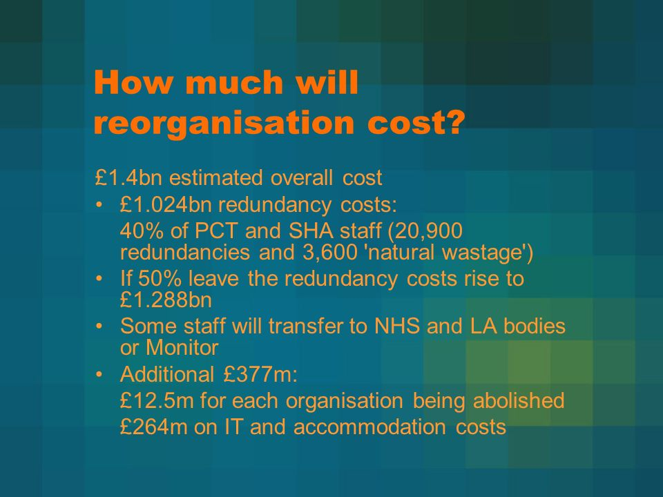 How much will reorganisation cost.