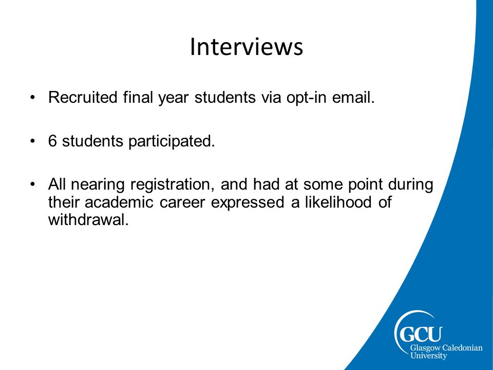 Recruited final year students via opt-in email. 6 students participated.
