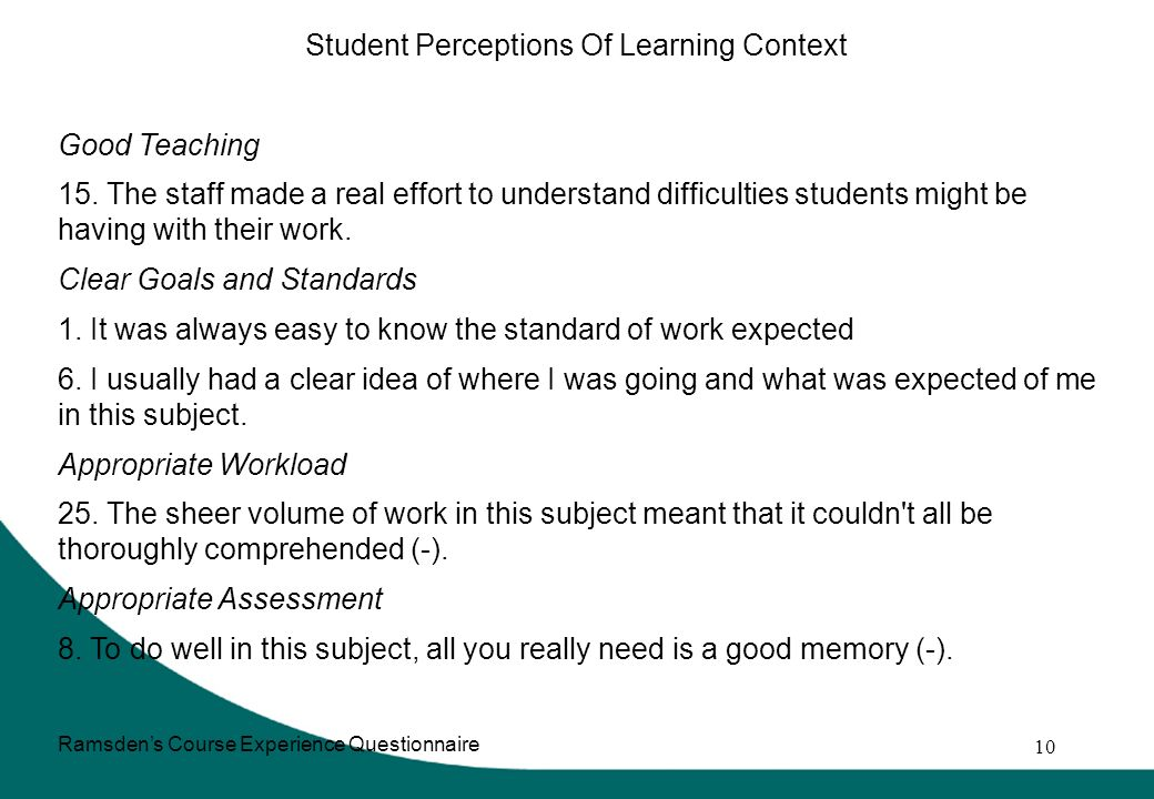 10 Student Perceptions Of Learning Context Good Teaching 15.
