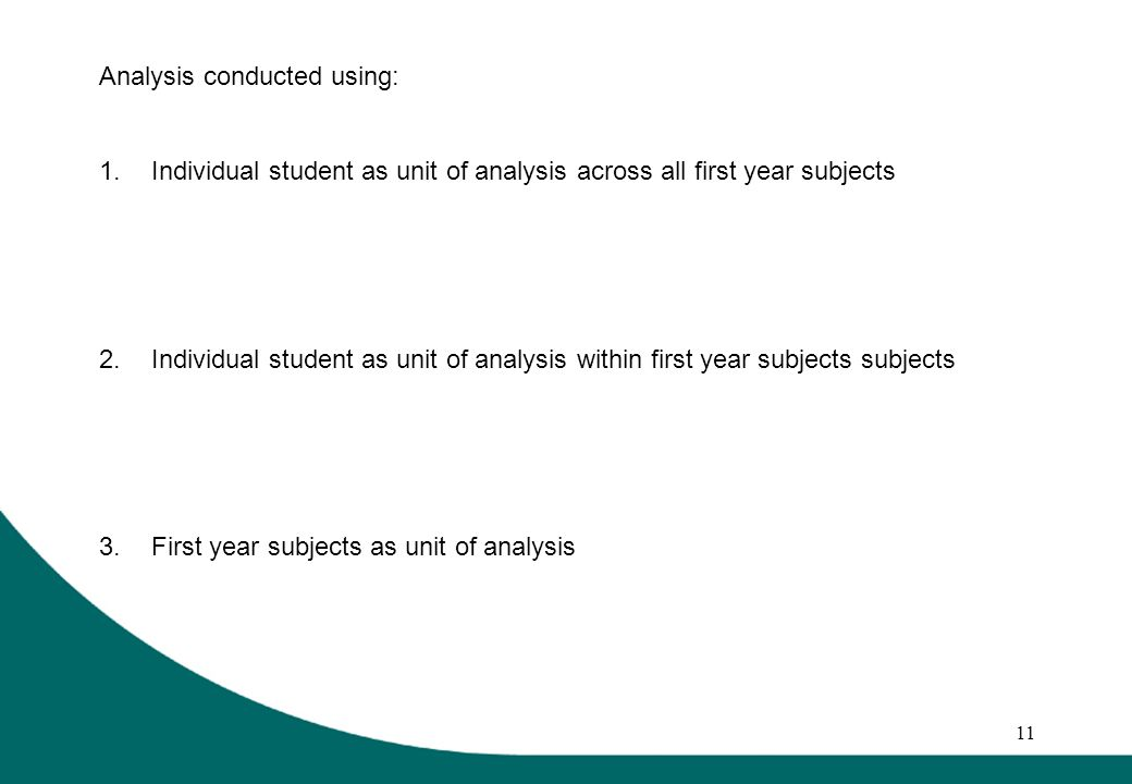 11 Analysis conducted using: 1.Individual student as unit of analysis across all first year subjects 2.Individual student as unit of analysis within first year subjects subjects 3.First year subjects as unit of analysis