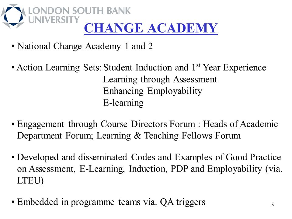 National Change Academy 1 and 2 Action Learning Sets:Student Induction and 1 st Year Experience Learning through Assessment Enhancing Employability E-learning Engagement through Course Directors Forum : Heads of Academic Department Forum; Learning & Teaching Fellows Forum Developed and disseminated Codes and Examples of Good Practice on Assessment, E-Learning, Induction, PDP and Employability (via.