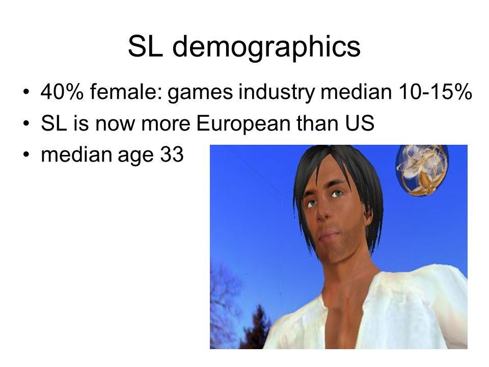SL demographics 40% female: games industry median 10-15% SL is now more European than US median age 33
