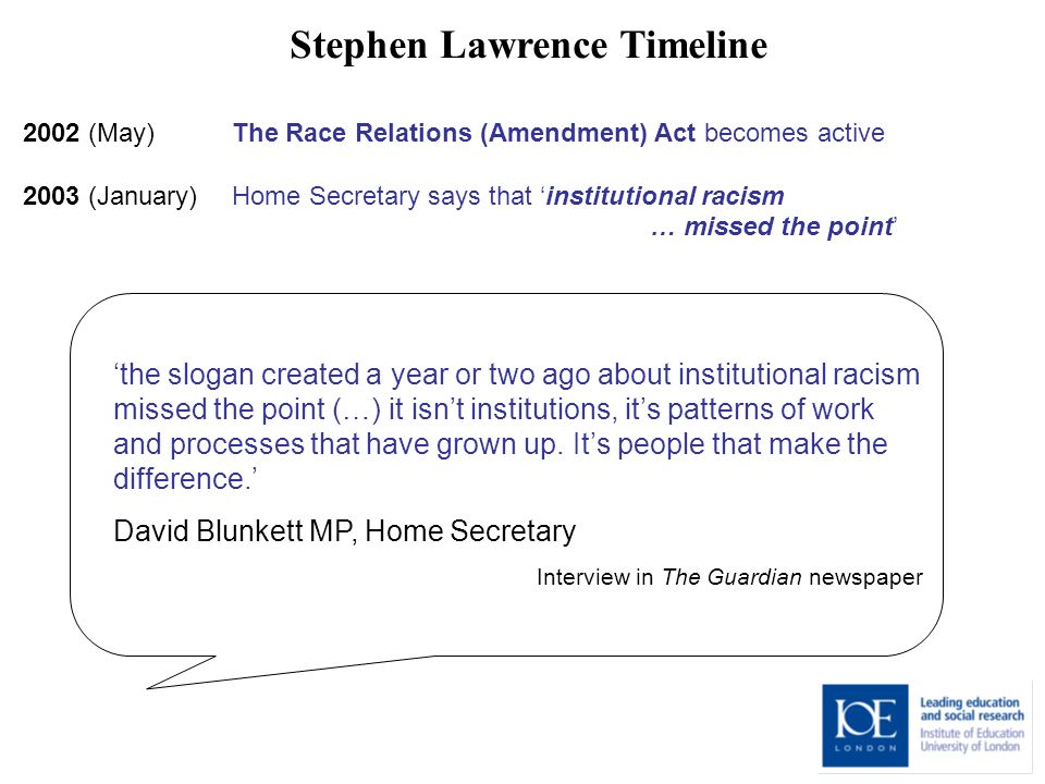 Stephen Lawrence Timeline 2002 (May) The Race Relations (Amendment) Act becomes active 2003 (January) Home Secretary says that institutional racism … missed the point the slogan created a year or two ago about institutional racism missed the point (…) it isnt institutions, its patterns of work and processes that have grown up.
