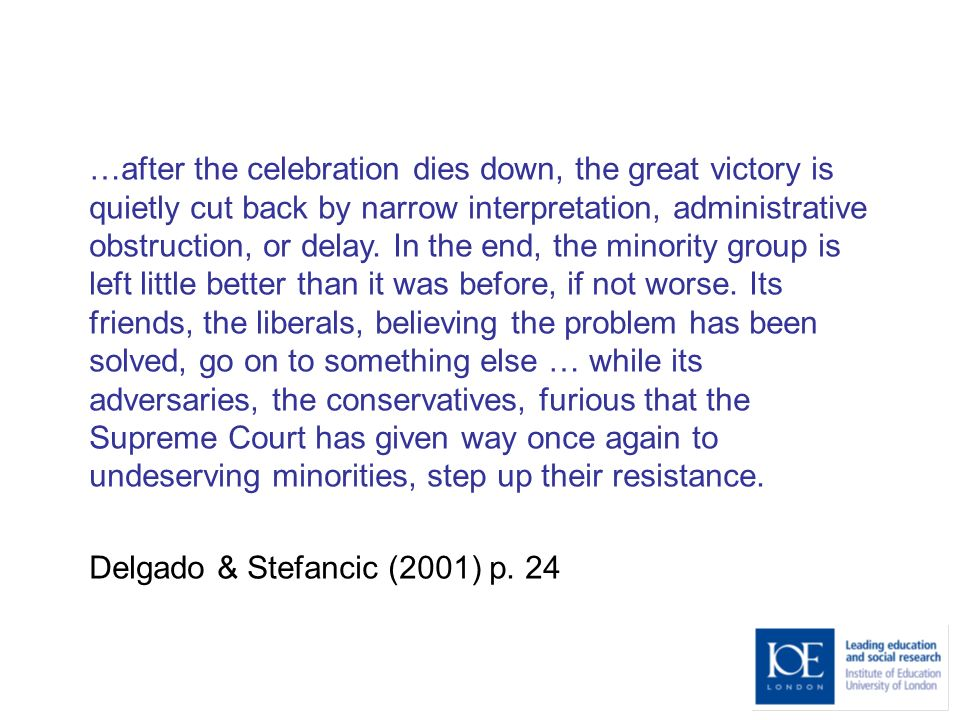 …after the celebration dies down, the great victory is quietly cut back by narrow interpretation, administrative obstruction, or delay.
