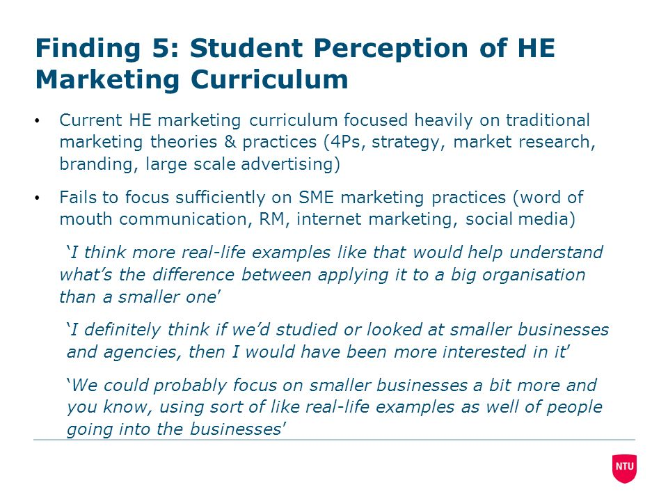 Finding 5: Student Perception of HE Marketing Curriculum Current HE marketing curriculum focused heavily on traditional marketing theories & practices (4Ps, strategy, market research, branding, large scale advertising) Fails to focus sufficiently on SME marketing practices (word of mouth communication, RM, internet marketing, social media) I think more real-life examples like that would help understand whats the difference between applying it to a big organisation than a smaller one I definitely think if wed studied or looked at smaller businesses and agencies, then I would have been more interested in it We could probably focus on smaller businesses a bit more and you know, using sort of like real-life examples as well of people going into the businesses
