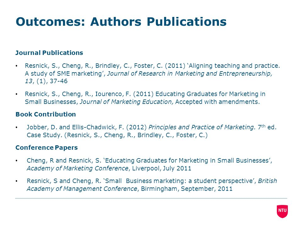 Outcomes: Authors Publications Journal Publications Resnick, S., Cheng, R., Brindley, C., Foster, C.