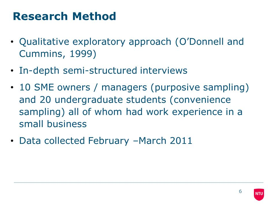 6 Research Method Qualitative exploratory approach (ODonnell and Cummins, 1999) In-depth semi-structured interviews 10 SME owners / managers (purposive sampling) and 20 undergraduate students (convenience sampling) all of whom had work experience in a small business Data collected February –March 2011