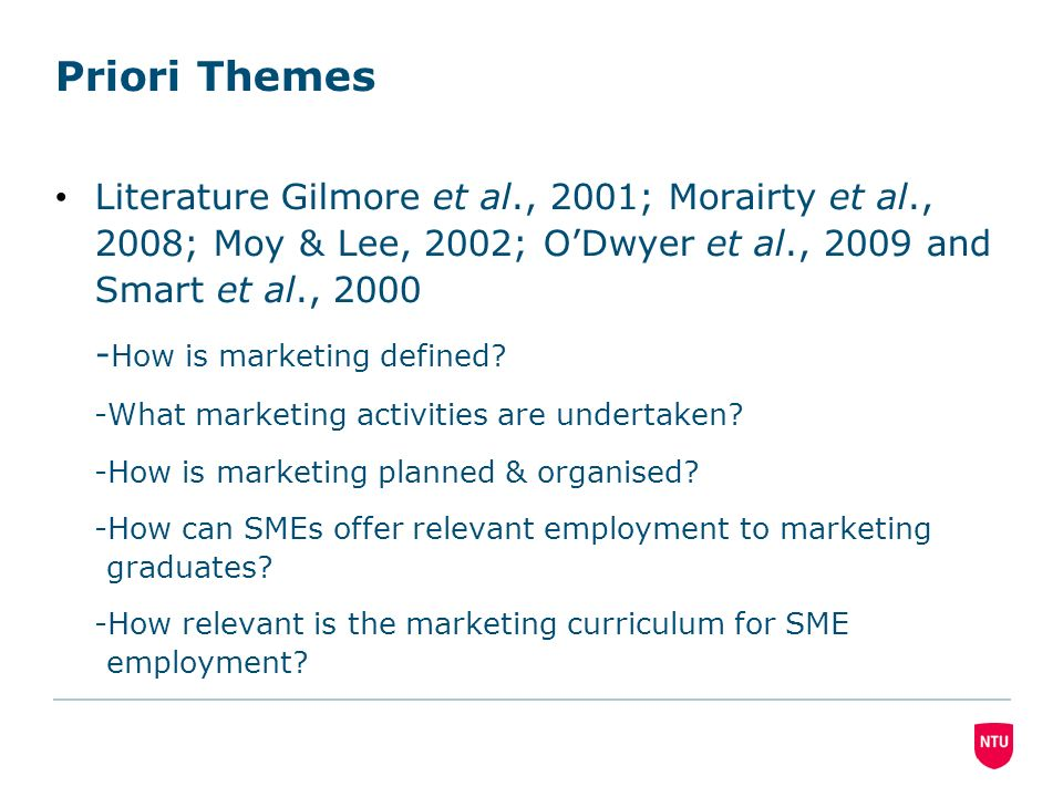 Priori Themes Literature Gilmore et al., 2001; Morairty et al., 2008; Moy & Lee, 2002; ODwyer et al., 2009 and Smart et al., 2000 - How is marketing defined.