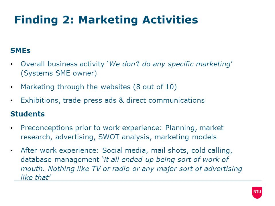 Finding 2: Marketing Activities SMEs Overall business activity We dont do any specific marketing (Systems SME owner) Marketing through the websites (8 out of 10) Exhibitions, trade press ads & direct communications Students Preconceptions prior to work experience: Planning, market research, advertising, SWOT analysis, marketing models After work experience: Social media, mail shots, cold calling, database management it all ended up being sort of work of mouth.