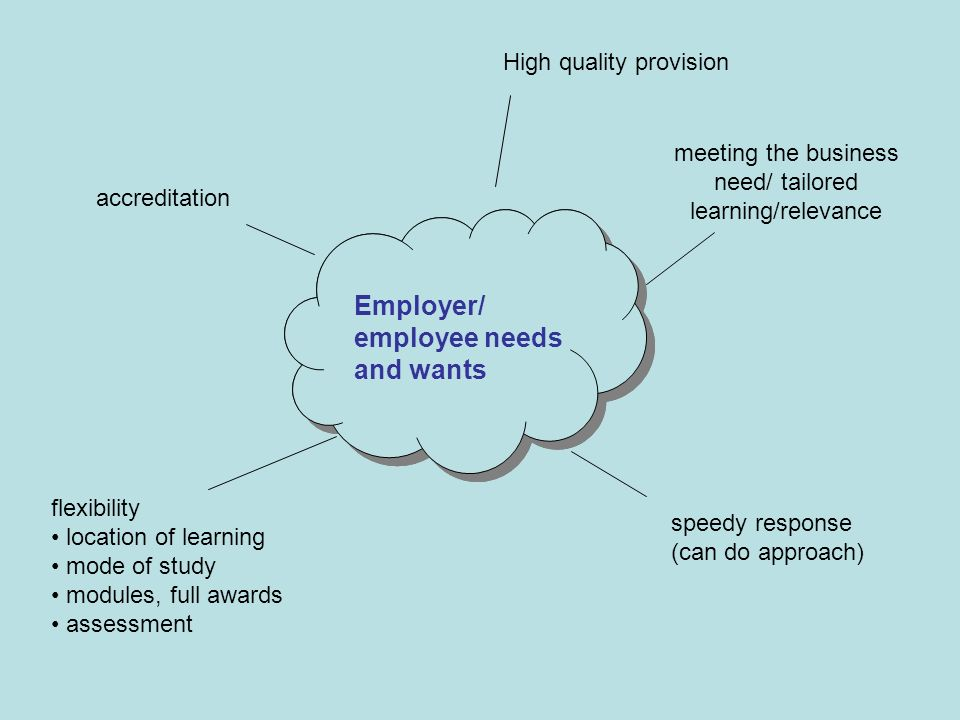 Employer/ employee needs and wants High quality provision speedy response (can do approach) meeting the business need/ tailored learning/relevance accreditation Employer/ employee needs and wants flexibility location of learning mode of study modules, full awards assessment