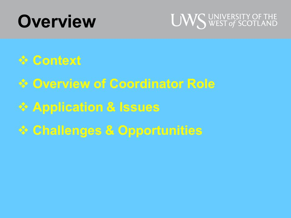 Overview Context Overview of Coordinator Role Application & Issues Challenges & Opportunities