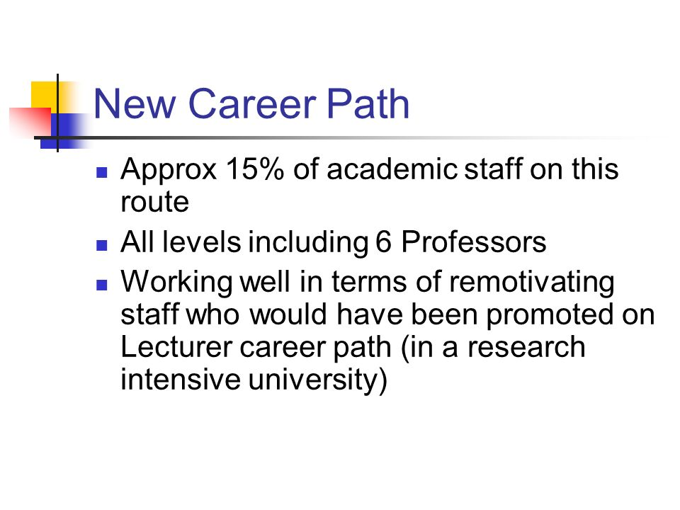 New Career Path Approx 15% of academic staff on this route All levels including 6 Professors Working well in terms of remotivating staff who would have been promoted on Lecturer career path (in a research intensive university)