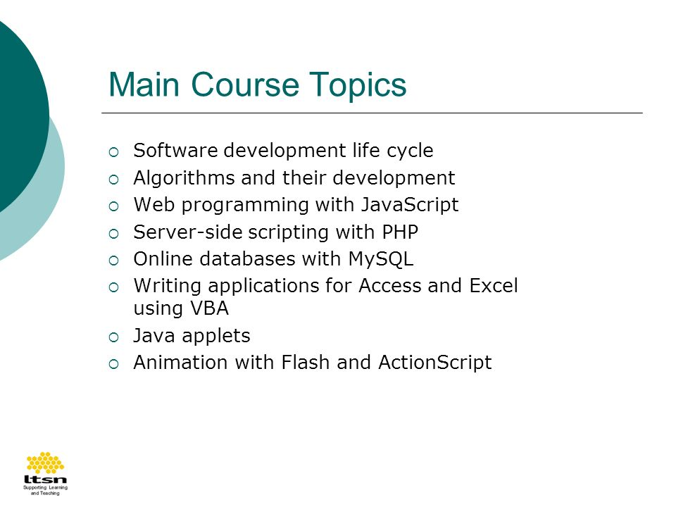 Main Course Topics Software development life cycle Algorithms and their development Web programming with JavaScript Server-side scripting with PHP Online databases with MySQL Writing applications for Access and Excel using VBA Java applets Animation with Flash and ActionScript