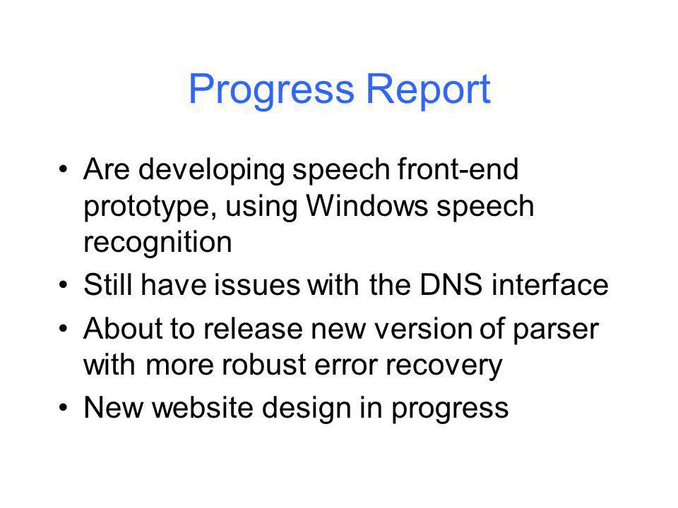 Progress Report Are developing speech front-end prototype, using Windows speech recognition Still have issues with the DNS interface About to release new version of parser with more robust error recovery New website design in progress Kingston University