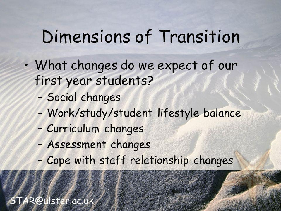STAR@ulster.ac.uk Dimensions of Transition What changes do we expect of our first year students.