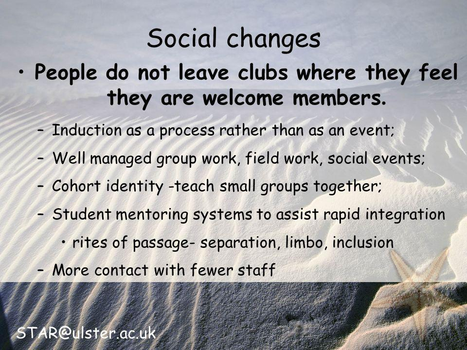 STAR@ulster.ac.uk Social changes People do not leave clubs where they feel they are welcome members.