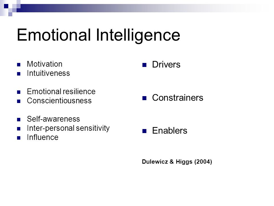 Emotional Intelligence Motivation Intuitiveness Emotional resilience Conscientiousness Self-awareness Inter-personal sensitivity Influence Drivers Constrainers Enablers Dulewicz & Higgs (2004)