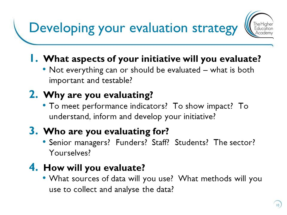 1. What aspects of your initiative will you evaluate.