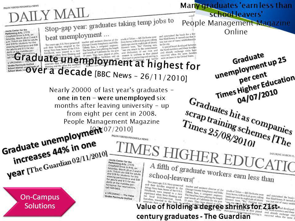Graduates hit as companies scrap training schemes [The Times 25/08/2010] Many graduates earn less than school leavers People Management Magazine Online Graduate unemployment at highest for over a decade [BBC News – 26/11/2010] Graduate unemployment up 25 per cent Times Higher Education 04/07/2010 Nearly 20000 of last year s graduates - one in ten - were unemployed six months after leaving university - up from eight per cent in 2008.