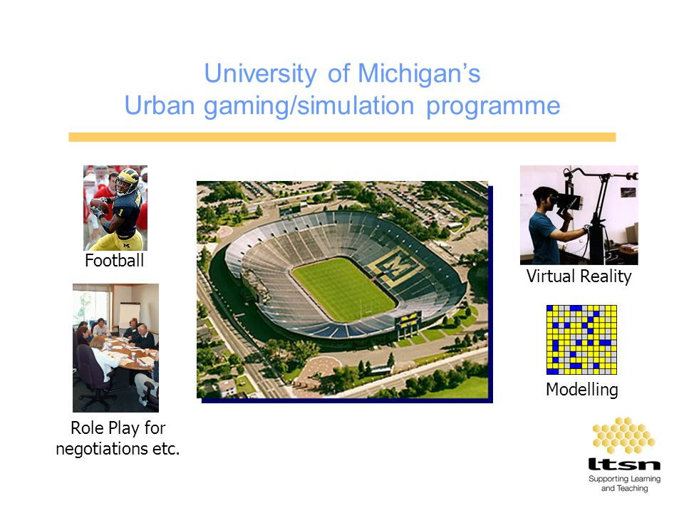 University of Michigans Urban gaming/simulation programme Football Virtual Reality Role Play for negotiations etc.