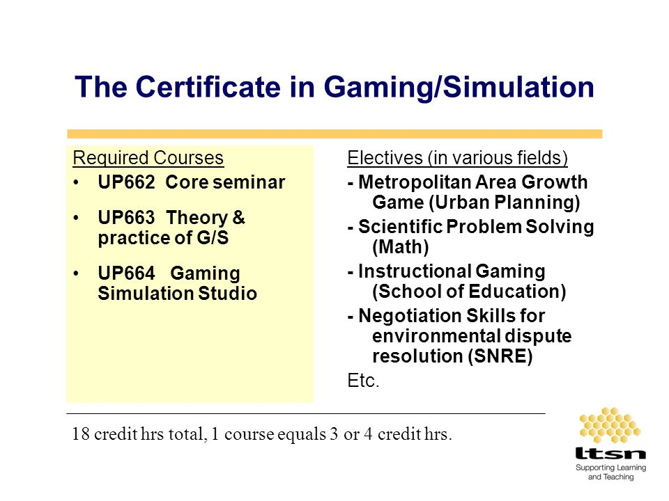 The Certificate in Gaming/Simulation Required Courses UP662 Core seminar UP663 Theory & practice of G/S UP664 Gaming Simulation Studio Electives (in various fields) - Metropolitan Area Growth Game (Urban Planning) - Scientific Problem Solving (Math) - Instructional Gaming (School of Education) - Negotiation Skills for environmental dispute resolution (SNRE) Etc.