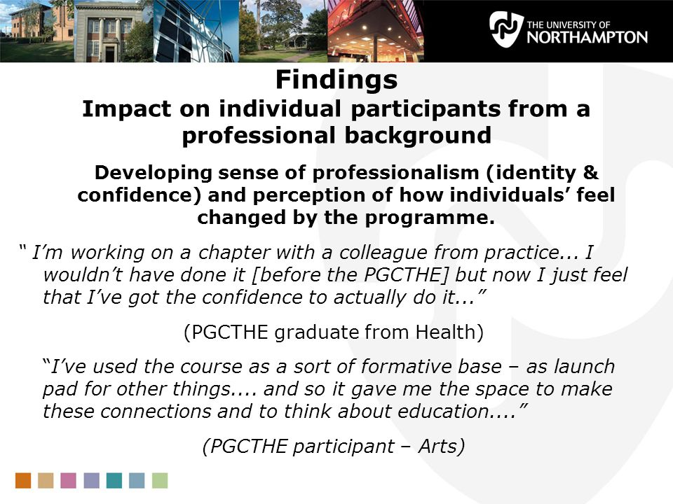 Findings Impact on individual participants from a professional background Developing sense of professionalism (identity & confidence) and perception of how individuals feel changed by the programme.