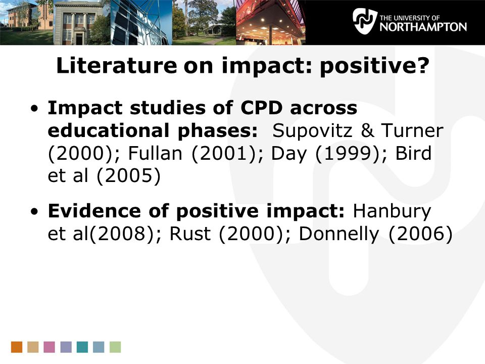 Literature on impact: positive.