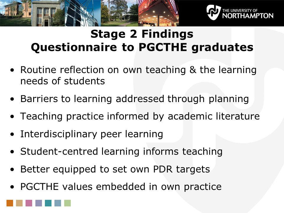 Stage 2 Findings Questionnaire to PGCTHE graduates Routine reflection on own teaching & the learning needs of students Barriers to learning addressed through planning Teaching practice informed by academic literature Interdisciplinary peer learning Student-centred learning informs teaching Better equipped to set own PDR targets PGCTHE values embedded in own practice
