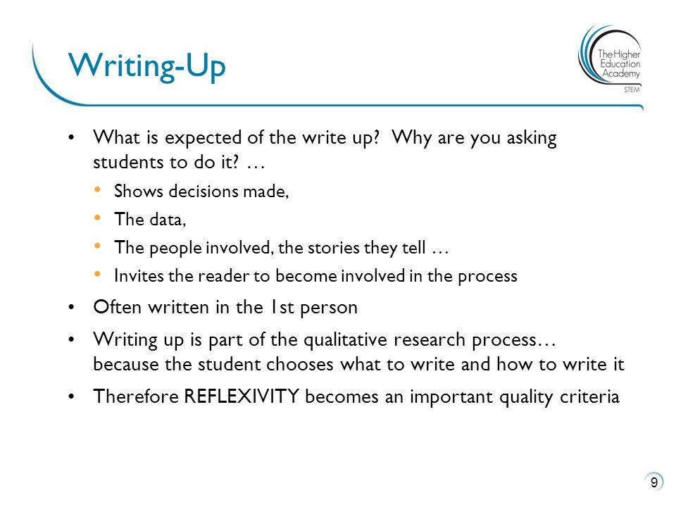 What is expected of the write up. Why are you asking students to do it.