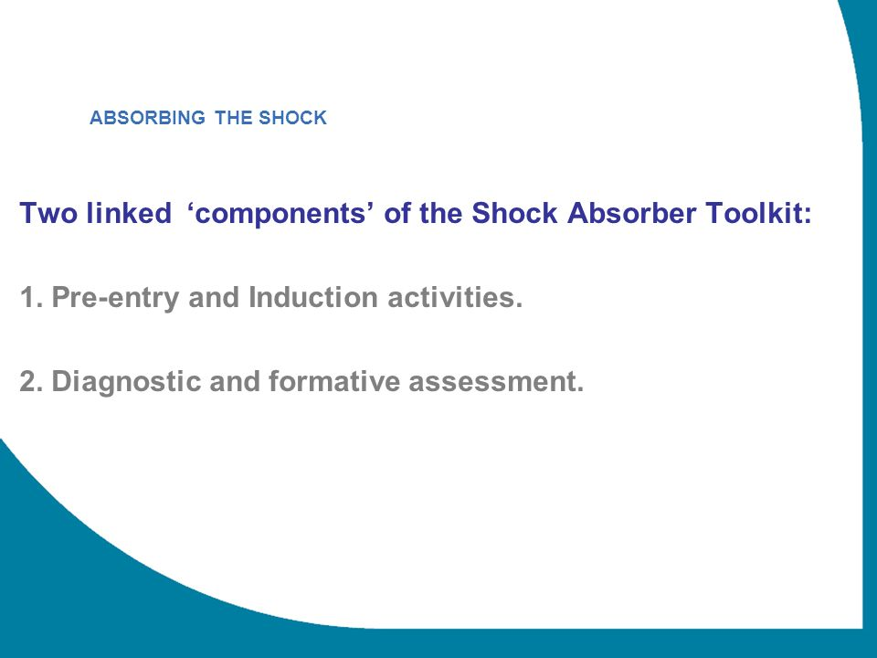 Two linked components of the Shock Absorber Toolkit: 1.