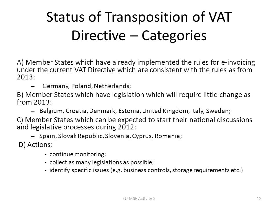 Status of Transposition of VAT Directive – Categories A) Member States which have already implemented the rules for e-invoicing under the current VAT Directive which are consistent with the rules as from 2013: – Germany, Poland, Netherlands; B) Member States which have legislation which will require little change as from 2013: – Belgium, Croatia, Denmark, Estonia, United Kingdom, Italy, Sweden; C) Member States which can be expected to start their national discussions and legislative processes during 2012: – Spain, Slovak Republic, Slovenia, Cyprus, Romania; D) Actions: - continue monitoring; - collect as many legislations as possible; - identify specific issues (e.g.
