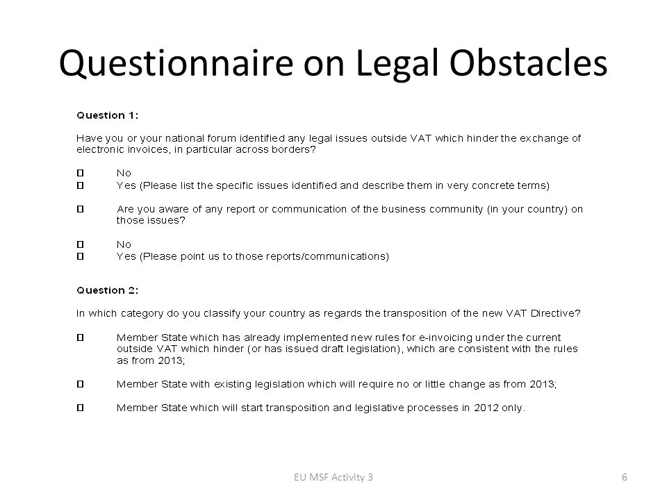 Questionnaire on Legal Obstacles EU MSF Activity 36