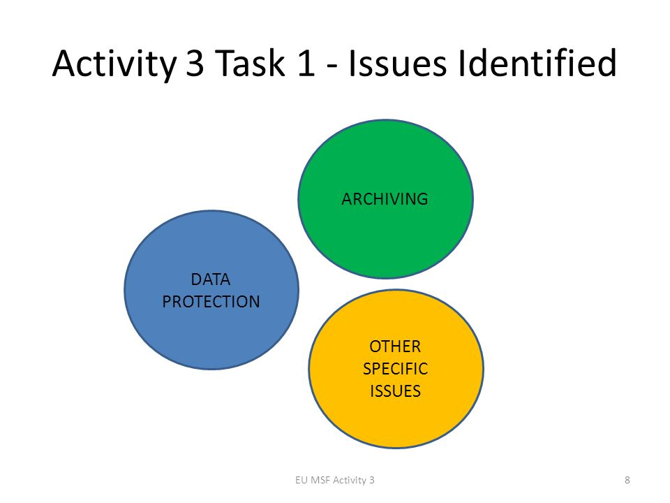 Activity 3 Task 1 - Issues Identified EU MSF Activity 38 ARCHIVING OTHER SPECIFIC ISSUES DATA PROTECTION