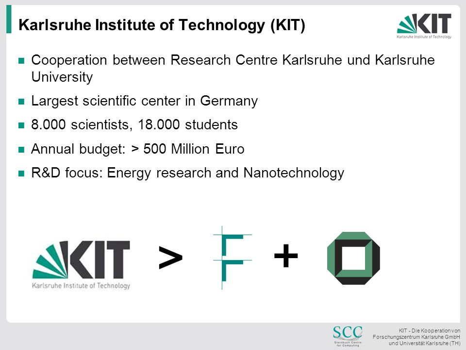 KIT - Die Kooperation von Forschungszentrum Karlsruhe GmbH und Universität Karlsruhe (TH) Karlsruhe Institute of Technology (KIT) Cooperation between Research Centre Karlsruhe und Karlsruhe University Largest scientific center in Germany 8.000 scientists, 18.000 students Annual budget: > 500 Million Euro R&D focus: Energy research and Nanotechnology > +