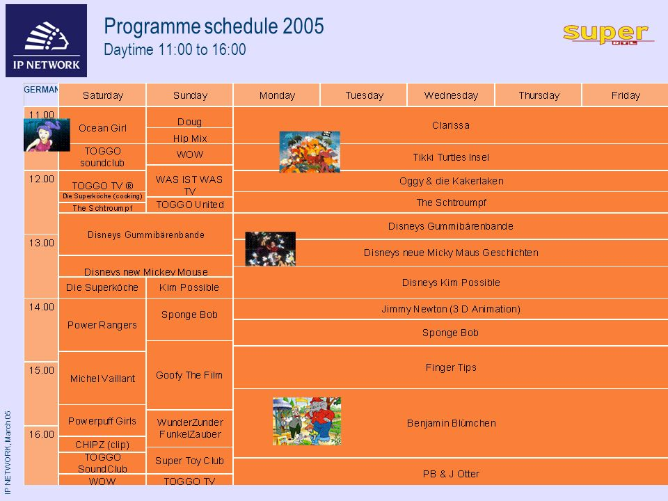 IP NETWORK, March 05 GERMANY Programme schedule 2005 Daytime 11:00 to 16:00