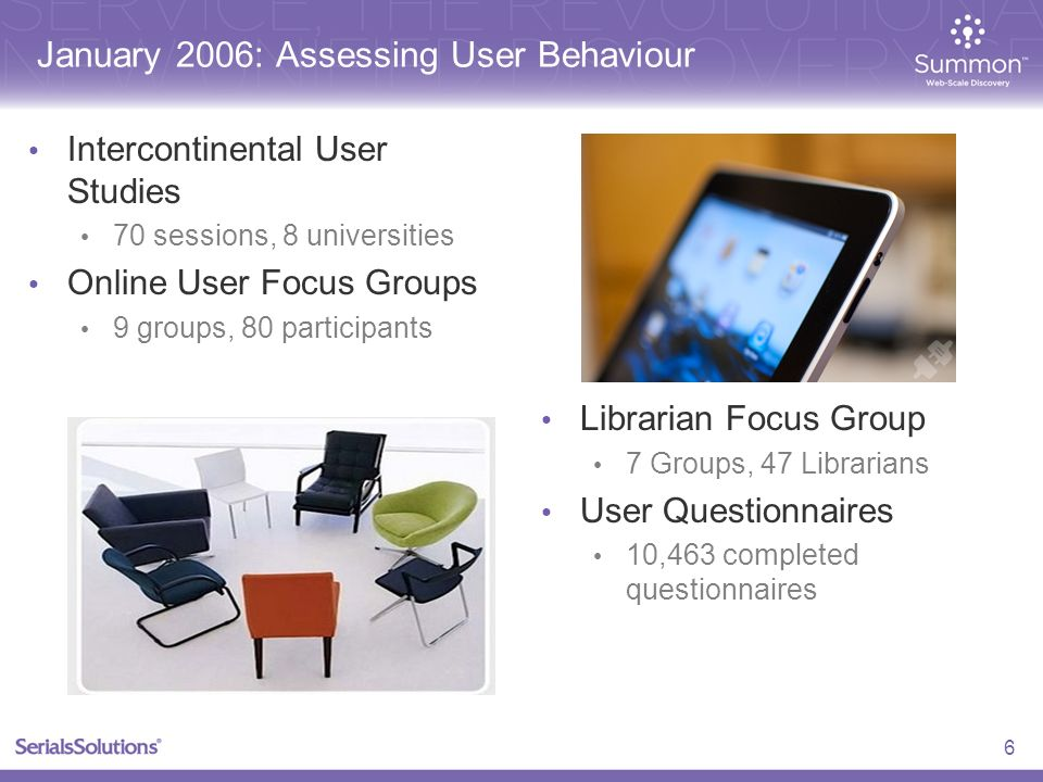 January 2006: Assessing User Behaviour Intercontinental User Studies 70 sessions, 8 universities Online User Focus Groups 9 groups, 80 participants Librarian Focus Group 7 Groups, 47 Librarians User Questionnaires 10,463 completed questionnaires 6